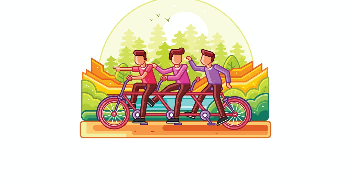 Download Teamwork Riding Tandem Bicycle Line Illustration by IanMikraz