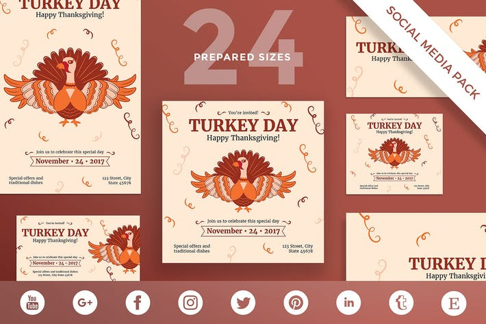 Thumbnail for Thanksgiving Celebration Social Media Pack Templat