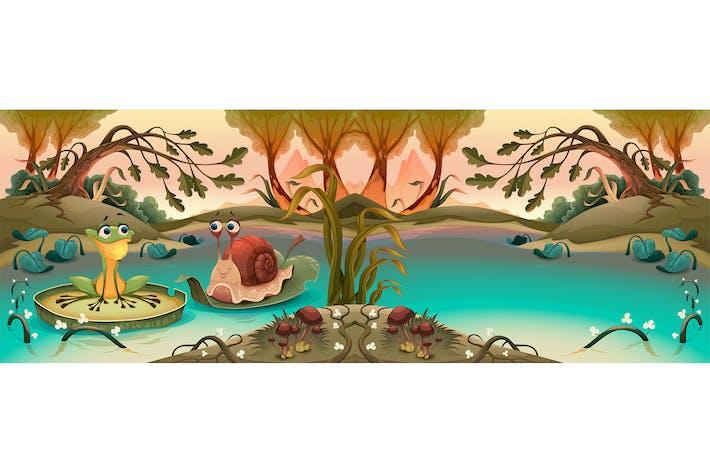 Thumbnail for Amitié entre grenouille et escargot dans l'étang