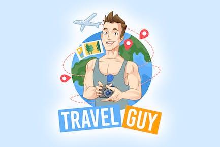 Cartoon Tourist Traveling Holding Camera Logo
