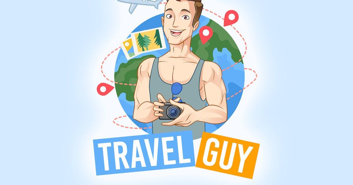Download Cartoon Tourist Traveling Holding Camera Logo by Suhandi