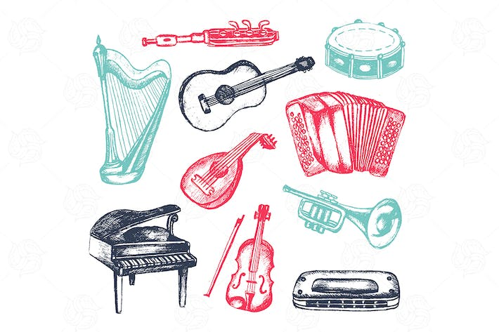 Thumbnail for Musical Instruments - vector objects