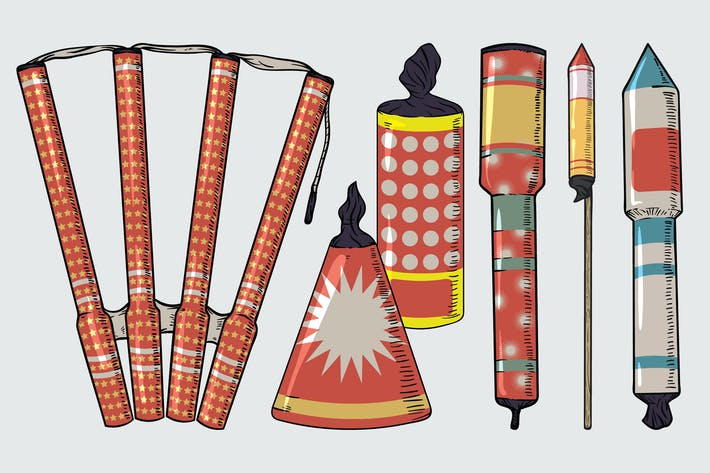 Thumbnail for Vintage New Year Fireworks Drawing Set