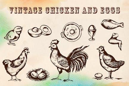Vintage Huhn und Eier