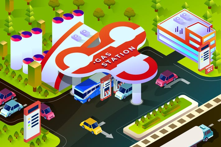 Gas Station - Isometric Vector Illustration