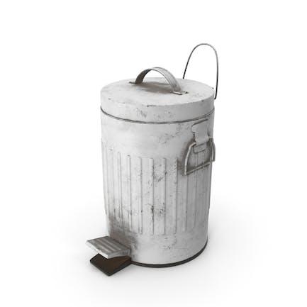 Pedal Trash Bin White Dirty