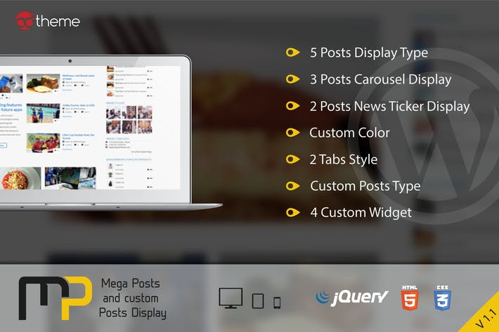 Thumbnail for Mega Posts and Custom Posts Display WP Plugin