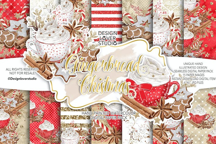 Cover Image For Gingerbread Christmas digital paper pack