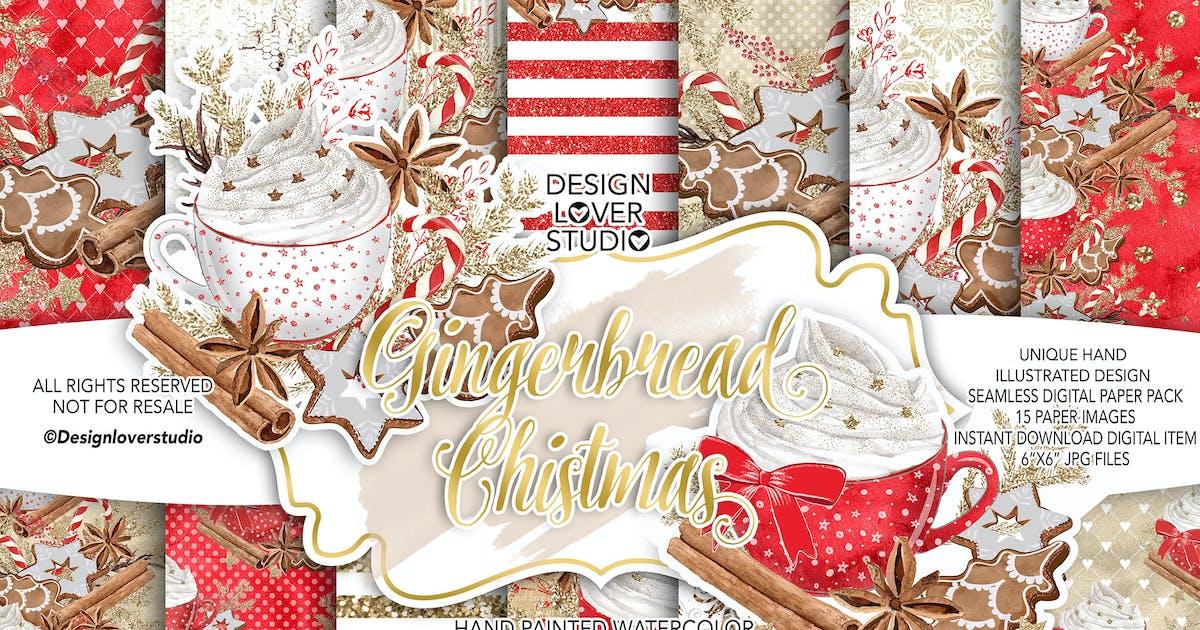 Download Gingerbread Christmas digital paper pack by designloverstudio