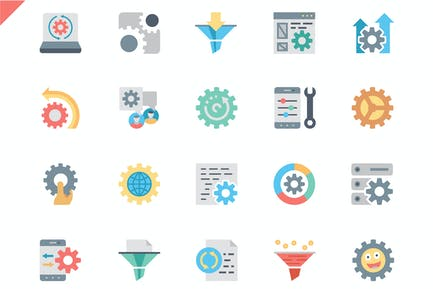 Simple Set Data Processing Flat Icons