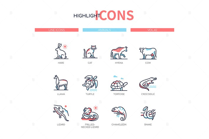 Thumbnail for Animals collection - line design style icons set