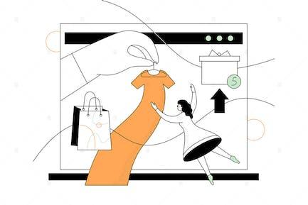 Compras en línea - diseño plano ilustración estilo