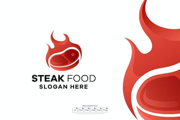 Steak Food Gradient Logo Template