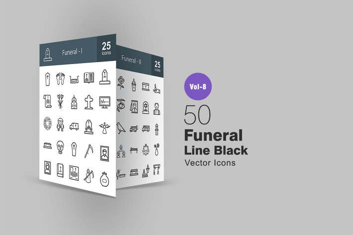 Thumbnail for 50 Funeral Line Icons