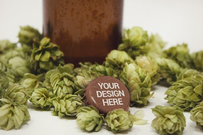 Thumbnail for Cap & Bottle Hop Beer Mockup