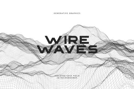 Conjunto de fondo de ondas de alambre