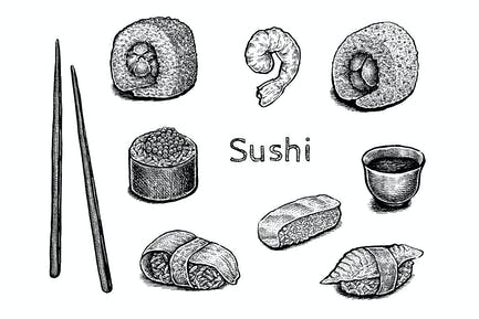 Sushi set (vector and raster)