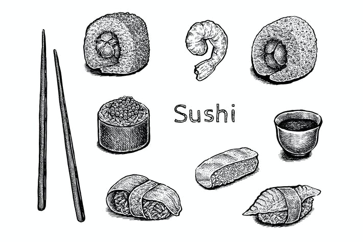 Thumbnail for Sushi set (vector and raster)