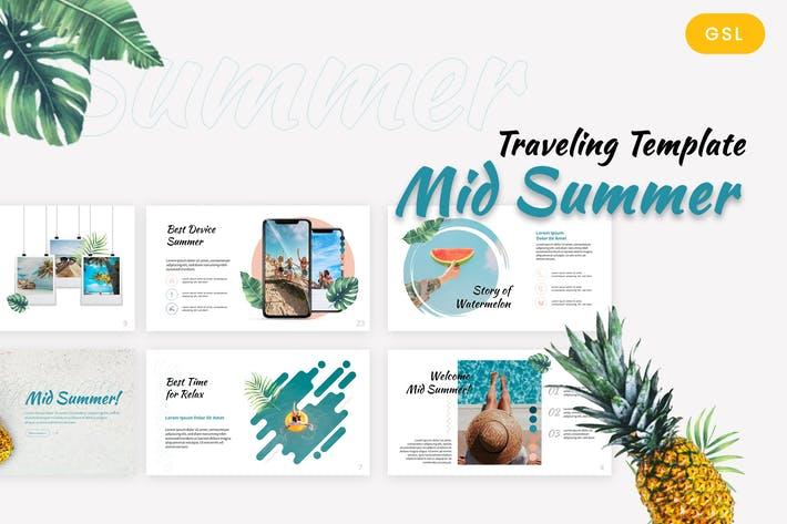 Thumbnail for Mid Summer - Traveling Google Slides Template
