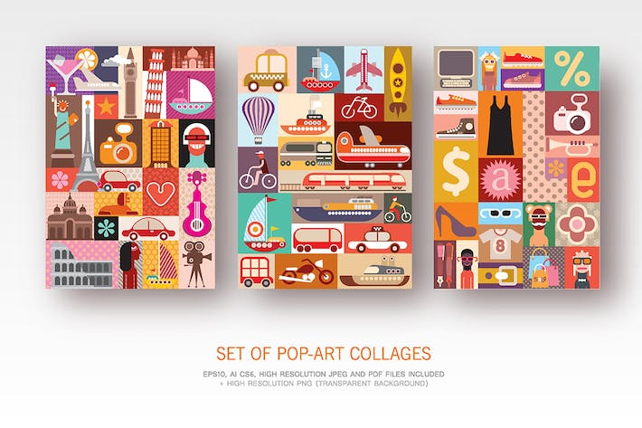 Thumbnail for Set of Pop-Art collages, vector designs