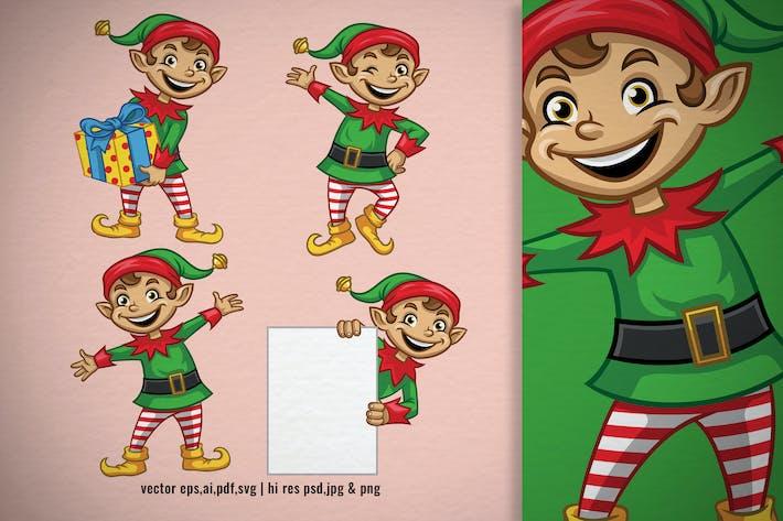 Thumbnail for set cartoon of christmas elf character