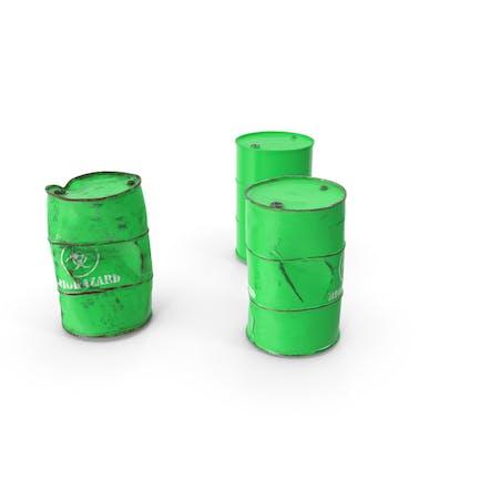 Biohazard Toxic Waste Barrels Set