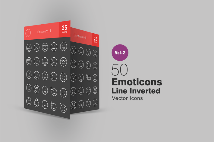 Thumbnail for 50 Emoticons Line Inverted Icons