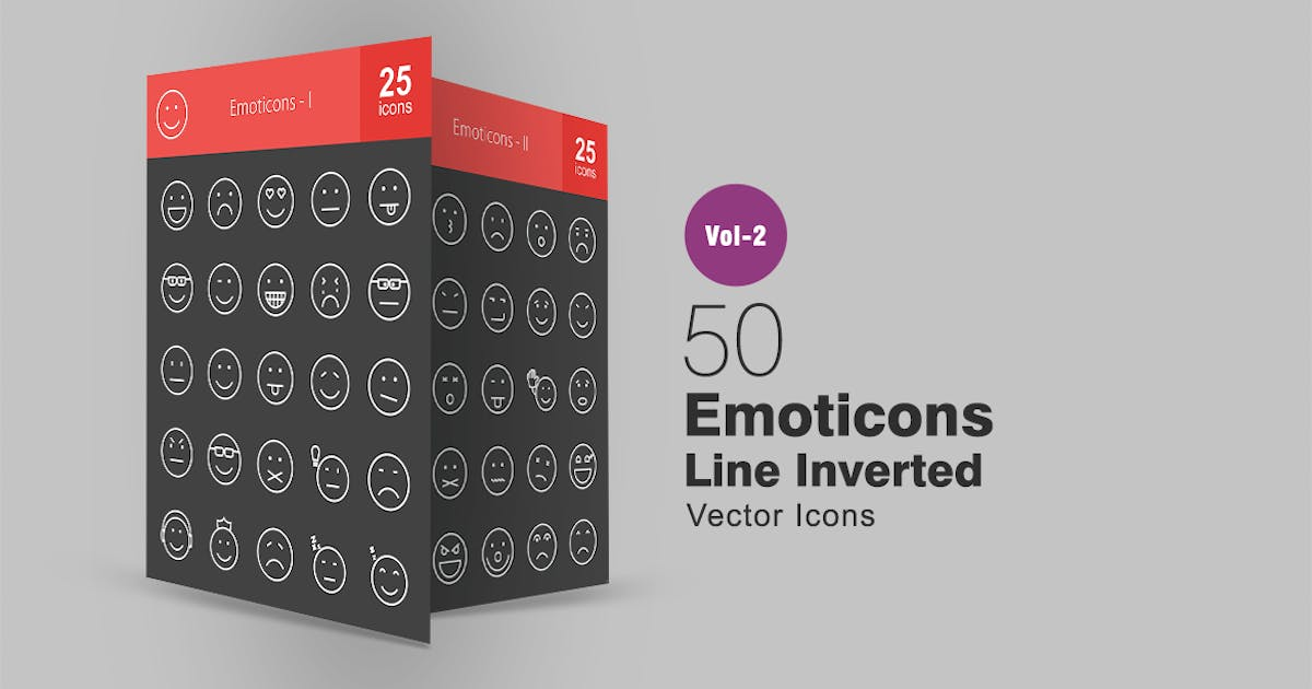 Download 50 Emoticons Line Inverted Icons by IconBunny