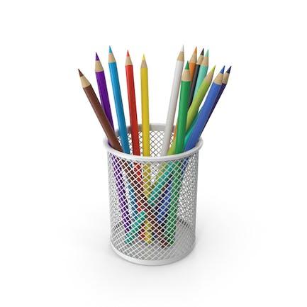 Taza de lápices con lápices de colores