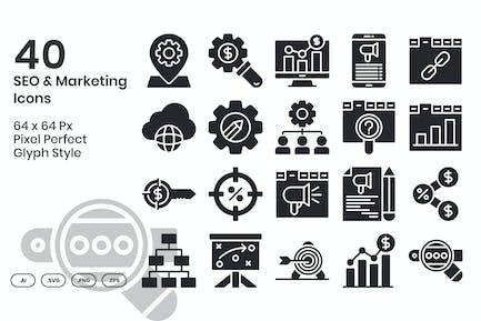 40 SEO & Marketing Icons Set - Glyph