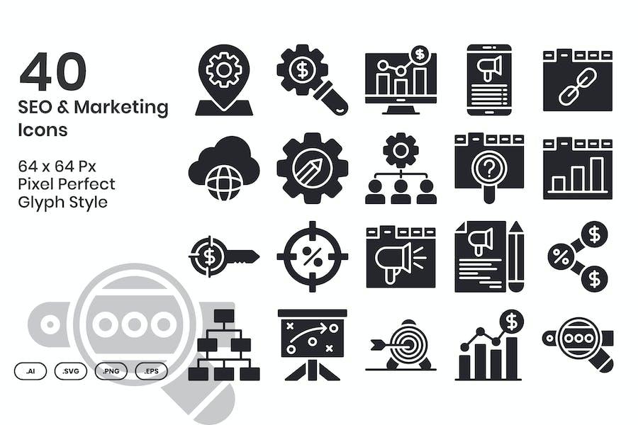 Conjunto de 40 Íconos SEO & Marketing - Glifo