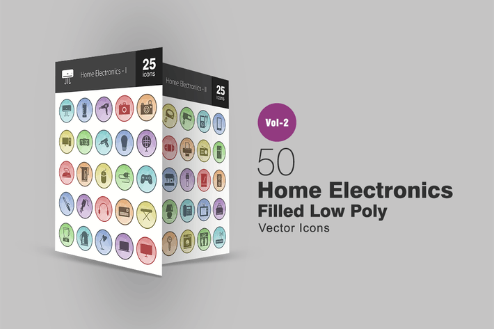 Thumbnail for 50 Home Electronics Filled Low Poly Icons