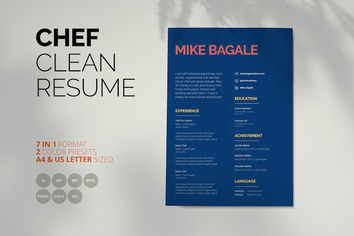 Thumbnail for Mike Bagale - Clean Chef Resume