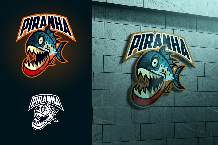 Thumbnail for Piranha Mascot Esports or Sports Logo