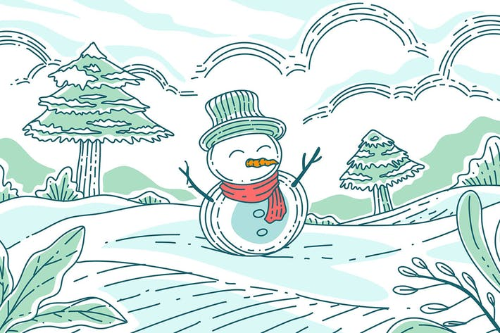 Thumbnail for Hand draw snowman - Illustration