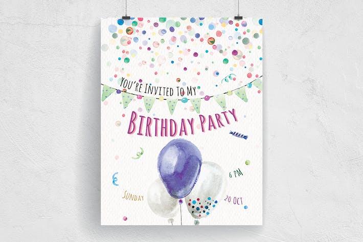 Happiest Birthday Party Flyer
