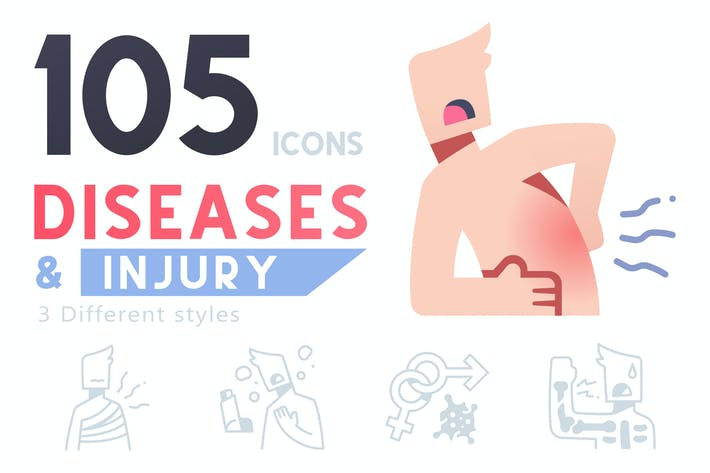 105 Diseases and Injury icon set