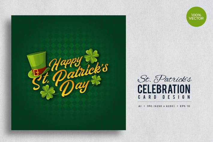 Thumbnail for St. Patrick's Day Square Vector Card Vol.4