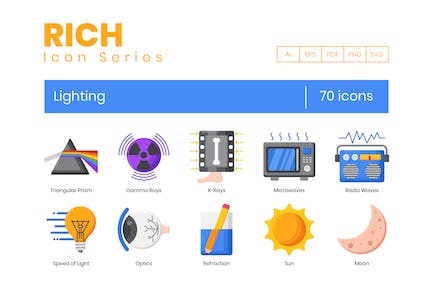 70 Lighting  Icons - Rich Series