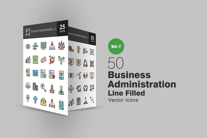 Thumbnail for 50 Business Administration Filled Line Icons