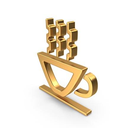 Heiße Tasse Symbol Gold