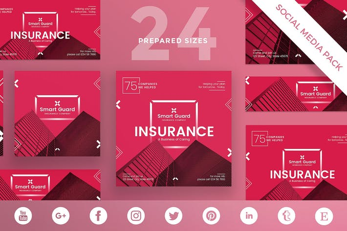 Thumbnail for Insurance Company Social Media Pack Template
