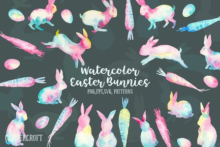 Watercolor Easter Bunnies Design Kit
