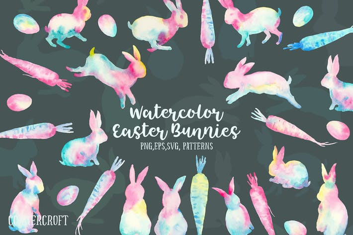 Thumbnail for Watercolor Easter Bunnies Design Kit