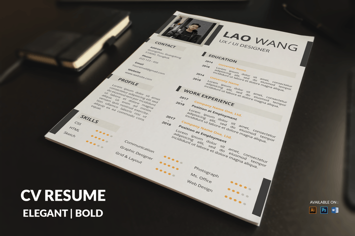 Thumbnail for CV Resume Elegant And Bold