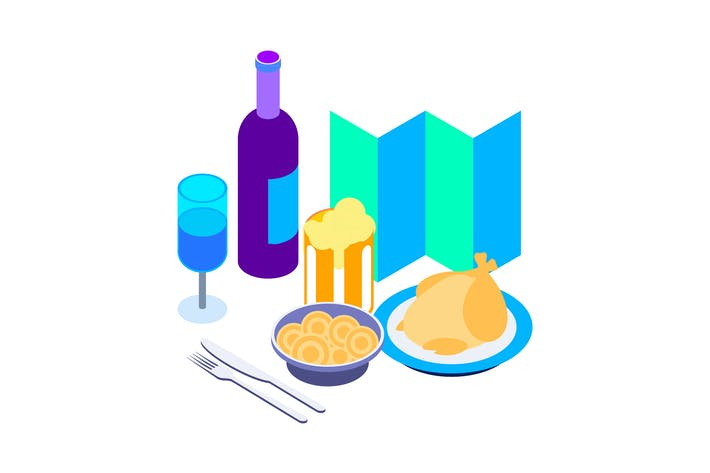 Thumbnail for Restaurants Isometric Illustration