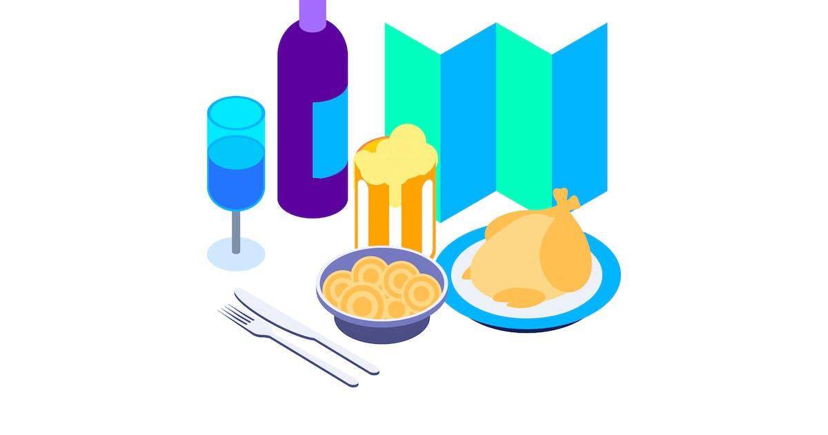 Download Restaurants Isometric Illustration by angelbi88