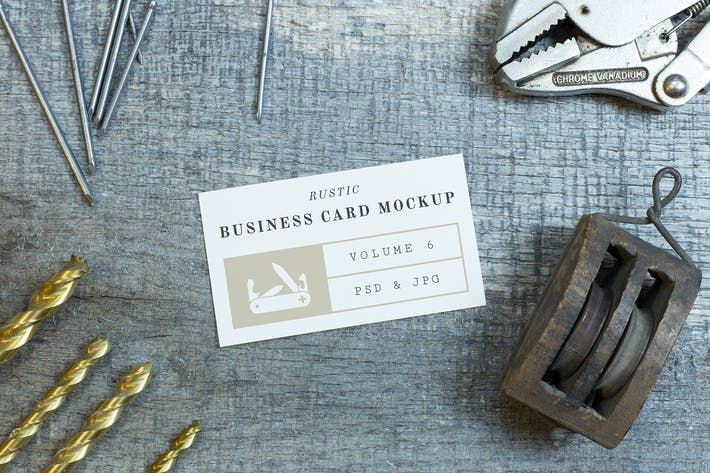 Cover Image For Rustic Business Card Mockup Vol. 6