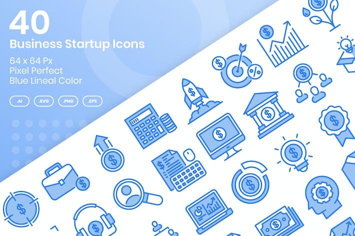 Thumbnail for Juego de 40 Íconos de inicio de negocios - Color lineal azul