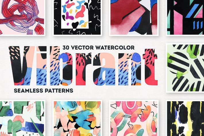 Cover Image For Vibrant Watercolor Patterns